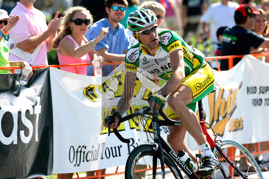Ignacio Gutierrez, of Phonak Hearing Systems, turns a corner during the Stage 6 finishing circuit of the Ford Tour de Georgia. Gutierrez sacrificed his wheel for race leader Floyd Landis when Landis had a flat in the finishing circuits with just a four-second lead over second-place Danielson.<br />