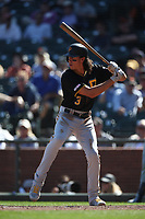 SAN FRANCISCO, CA - SEPTEMBER 12:  Cole Tucker #3 of the Pittsburgh Pirates bats against the San Francisco Giants during the game at Oracle Park on Thursday, September 12, 2019 in San Francisco, California. (Photo by Brad Mangin)