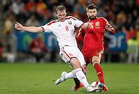 Spain's Gerard Pique (r) and Belarus' Sergei Kornilenko during 15th UEFA European Championship Qualifying Round match. November 15,2014.(ALTERPHOTOS/Acero) /NortePhoto nortephoto@gmail.com