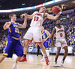 SIOUX FALLS, SD: MARCH 6: Matt Mooney #13 of South Dakota grabs a rebound in front of Lane Severyn #25 of South Dakota State during the Summit League Basketball Championship on March 6, 2017 at the Denny Sanford Premier Center in Sioux Falls, SD. (Photo by Dick Carlson/Inertia)