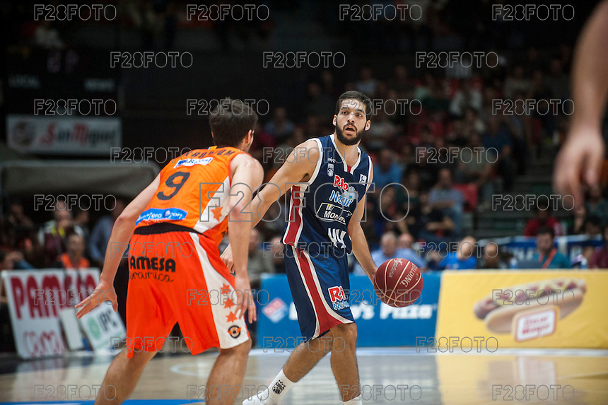 VALENCIA, SPAIN - OCTOBER 31: Sam Van Brossom and Jose Pozas during ENDESA LEAGUE match between Valencia Basket Club and Rio Natura Monbus Obradoiro at Fonteta Stadium on   October 31, 2015 in Valencia, Spain