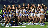 BOGOTA -COLOMBIA. 02-03-2014. Porristas  de Millonarios posan para la foto despues del,partido   contra Independiente Santa Fe   partido por la Novena fecha de La liga Postobon 1 disputado en el estadio El Campin. /  Millionarios  Cheerleaders pose for a photo after the party against Independiente Santa Fe match the date of the Ninth Postobon one league played at El Campin.. Photo: VizzorImage/ Felipe Caicedo / Staff