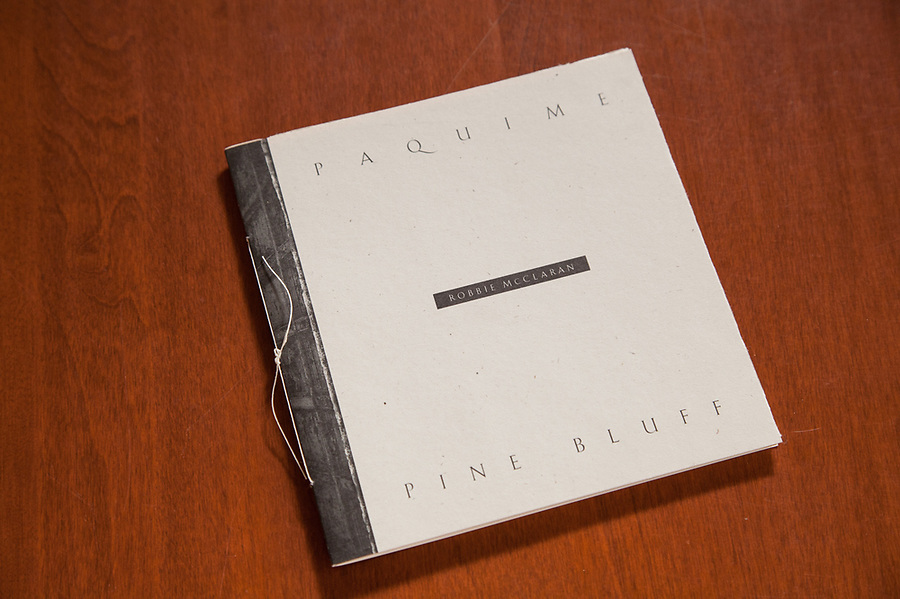 Paquime / Pine Bluff is a small Artist's book, that contrasts photographs of an acnient native american site in Northern Mexico with the artist's hometown in Arkansas. Features rice paper fly sheets, hand sewn binding, signed, limited edition of 500. Features two gatefold pullout pages of six images each. Self published in 1991