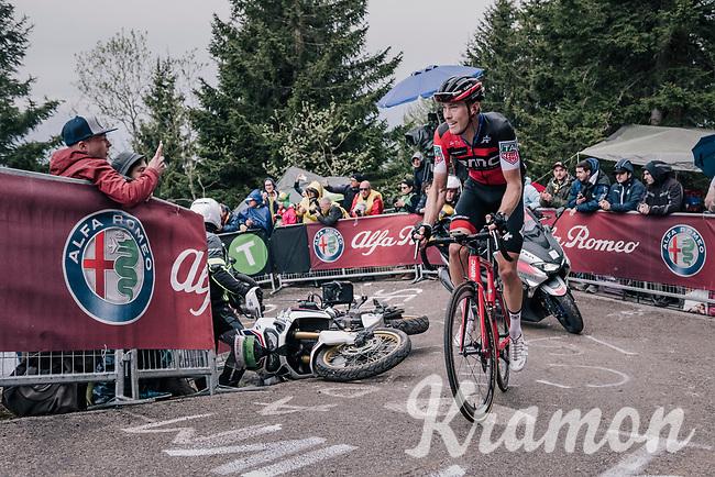 Rohan Dennis (AUS/BMC) avoiding a crashed moto up the infamous Monte Zoncolan (1735m/11%/10km)<br /> <br /> stage 14 San Vito al Tagliamento – Monte Zoncolan (186 km)<br /> 101th Giro d'Italia 2018