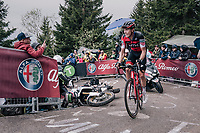 Rohan Dennis (AUS/BMC) avoiding a crashed moto up the infamous Monte Zoncolan (1735m/11%/10km)<br /> <br /> stage 14 San Vito al Tagliamento &ndash; Monte Zoncolan (186 km)<br /> 101th Giro d'Italia 2018
