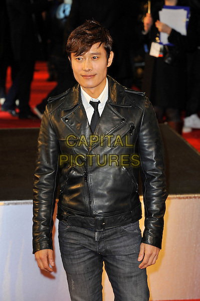 "Byung Hun Lee.The ""G.I. Joe 2: Retaliation"" UK film premiere, Empire cinema, Leicester Square, London, England..March 18th, 2013.half length leather jacket black jeans denim.CAP/MAR.© Martin Harris/Capital Pictures."