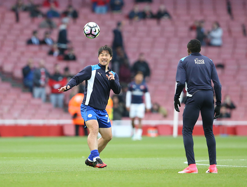 Leicester City's Shinji Okazaki during the pre-match warm-up <br /> <br /> Photographer Stephen White/CameraSport<br /> <br /> The Premier League - Arsenal v Leicester City - Wednesday 26th April 2017 - Emirates Stadium - London<br /> <br /> World Copyright &copy; 2017 CameraSport. All rights reserved. 43 Linden Ave. Countesthorpe. Leicester. England. LE8 5PG - Tel: +44 (0) 116 277 4147 - admin@camerasport.com - www.camerasport.com