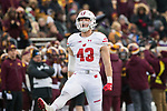 Wisconsin Badgers linebacker Ryan Connelly (43) celebrates a tackle during an NCAA College Big Ten Conference football game against the Minnesota Golden Gophers Saturday, November 25, 2017, in Minneapolis, Minnesota. The Badgers won 31-0. (Photo by David Stluka)