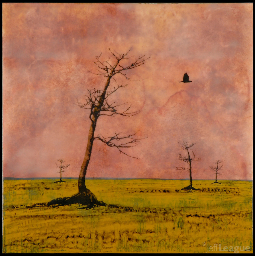 Photo transfer mixed media encaustic painting of trees in gold field with orange sunset