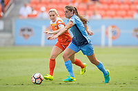 Houston, TX - Saturday May 13, Sky Blue FC defender Erica Skroski (8), Houston Dash forward Kealia Ohai (7) during a regular season National Women's Soccer League (NWSL) match between the Houston Dash and Sky Blue FC at BBVA Compass Stadium. Sky Blue won the game 3-1.