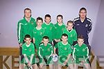 Listowel Celtic.F l-r: Brian Mason, Feidhlim Roberts, Tom Melvin, Ciaran O'Connor.B l-r Riobard Pierse(coach), Sam Tarrent, Jack Healy, Glynn Carey, Niall O'Sullivan, Brendan Carey(manager)