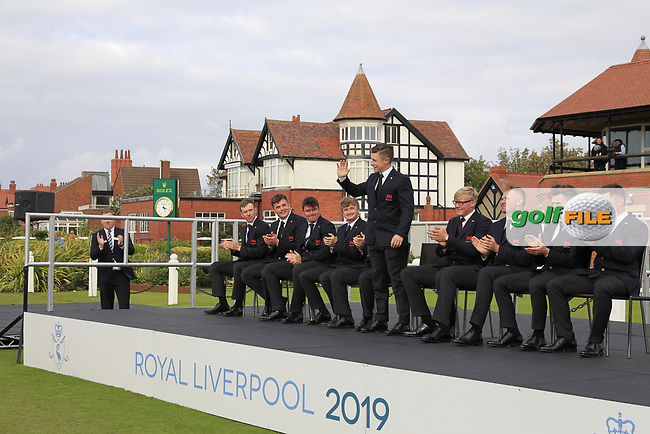 Conor Purcell (GB&I) being introduced during the Official Opening of the Walker Cup, Royal Liverpool Golf CLub, Hoylake, Cheshire, England. 06/09/2019.<br /> Picture Thos Caffrey / Golffile.ie<br /> <br /> All photo usage must carry mandatory copyright credit (© Golffile | Thos Caffrey)