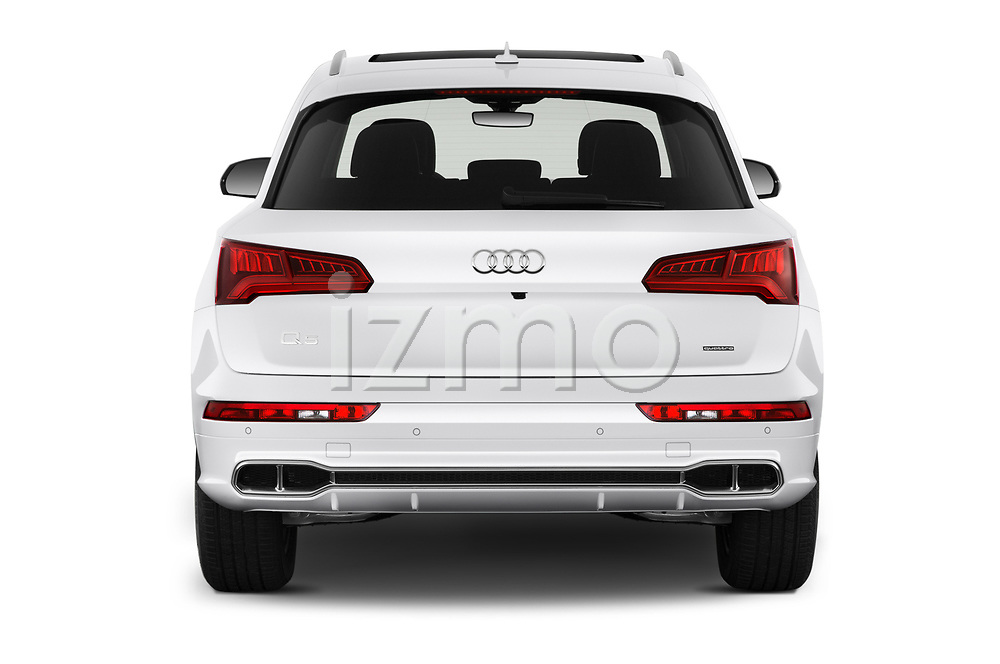 Straight rear view of a 2020 Audi Q5 Premium 5 Door SUV stock images