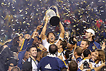 20 November 2011: Los Angeles' Omar Gonzalez holds the Philip F. Anschutz trophy overhead. The Los Angeles Galaxy defeated the Houston Dynamo 1-0 at the Home Depot Center in Carson, CA in MLS Cup 2011, Major League Soccer's championship game.