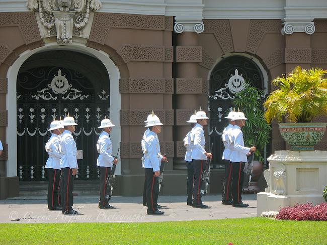 Palace guards at attention. The Grand Palace. Bangkok, Thailand