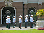 Palace guards at attention. The Grand Palace. Bangkok, Thailand