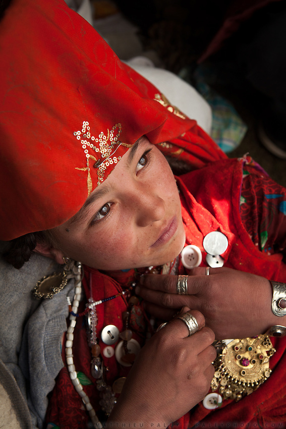 The young Chinor will soon be married. Daughter of Abdul Walli..Daily life at the Khan (chief) summer camp of Kara Jylga...Trekking through the high altitude plateau of the Little Pamir mountains (average 4200 meters) , where the Afghan Kyrgyz community live all year, on the borders of China, Tajikistan and Pakistan.