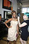 Host Delaina Dixon gets ready by Inglot for Gossip Table Launch Party - The Gossip Table Launch Party starring hosts Rob Shuter (Days of Our Lives), Delaina Dixon (Daily Gals Diva), Marianne Garvey, Chloe Melas and Noah Levy & executive producer Shane Farley - to celebrate our new VH1 morning show beginning June 3 - party was on May 30, 2013 at Catch Roof, New York City, New York. (Photo by Sue Coflin/Max Photos)