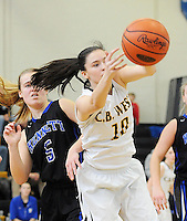 Central Bucks West's Erin Mcilhenny #10 grabs a loose ball as Kennett's Caroline Hertz #5 defends in the first quarter Saturday February 13, 2016 at Central Bucks West High School in Doylestown, Pennsylvania. Central Bucks West won 53-38. (Photo by William Thomas Cain)