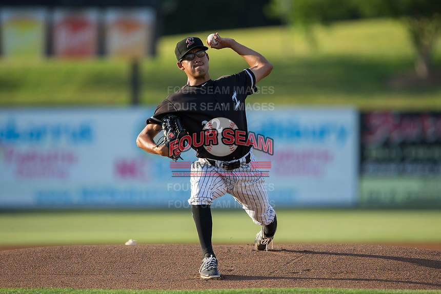 Kannapolis Intimidators starting pitcher Bernardo Flores (32) in action against the Hickory Crawdads at Kannapolis Intimidators Stadium on May 18, 2017 in Kannapolis, North Carolina.  The Crawdads defeated the Intimidators 6-4.  (Brian Westerholt/Four Seam Images)
