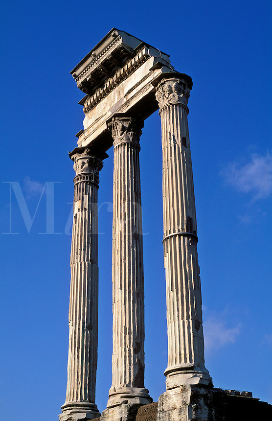 Italy,Rome,The Forum. Corinthian columns of the Temple of Castor and Pollus