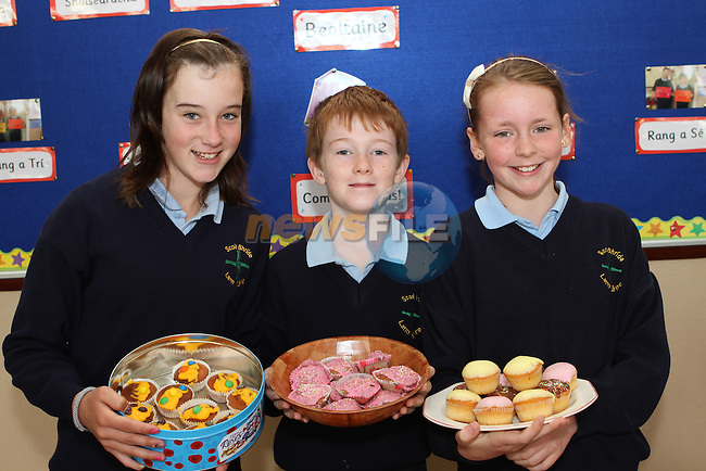 Sasha Higgins, Micheál Mac Giolla Coda and Molly McTiernan at the Cake Sale in Scoil Bhride NS, Dunleer....Photo NEWSFILE/Jenny Matthews.