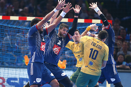 11.01.2017. Accor Arena, Paris, France. 25th World Handball Championships France versus Brazil. Luka Karabatic (France) Ludovic Fabregas (France) block off Alexandro Pozzer (bra) and Jose Guilherme De Toledo (bra)