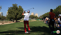 Adam Scott (AUS) plays from the 11th tee during the Final Round of the 2016 Omega Dubai Desert Classic, played on the Emirates Golf Club, Dubai, United Arab Emirates.  07/02/2016. Picture: Golffile | David Lloyd<br /> <br /> All photos usage must carry mandatory copyright credit (&copy; Golffile | David Lloyd)