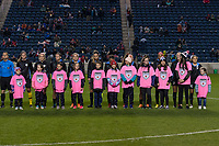 Bridgeview, IL - Saturday March 31, 2018: Chicago Red Stars Starting XI, Player Escorts during a regular season National Women's Soccer League (NWSL) match between the Chicago Red Stars and the Portland Thorns FC at Toyota Park.