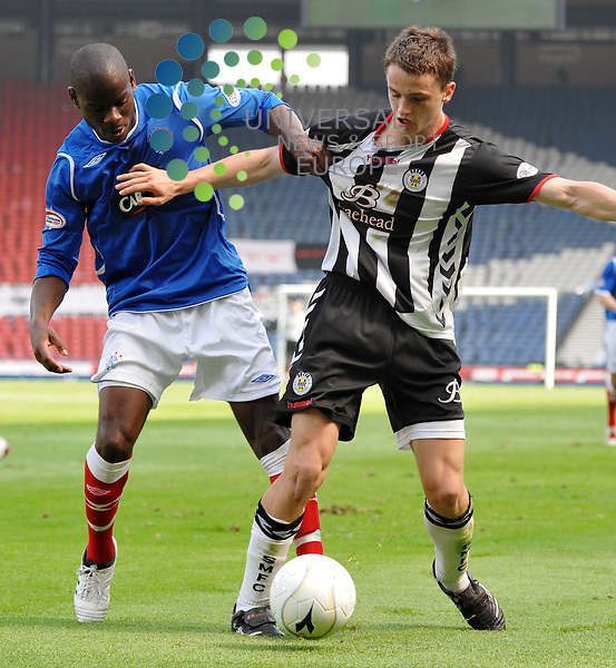 during the Homecoming Scottish Cup Semi Final at Hampden.Stephen McGinn holds off Maurice Edu during the Homecoming Scottish Cup Semi Final at Hampden.