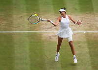 Garbine Muguruza (14) of Spain in action during her victory over Magdalena Rybarikova of Slovakia in their Ladies' Singles Semi Final Match today<br /> <br /> Photographer Ashley Western/CameraSport<br /> <br /> Wimbledon Lawn Tennis Championships - Day 10 - Thursday 13th July 2017 -  All England Lawn Tennis and Croquet Club - Wimbledon - London - England<br /> <br /> World Copyright &not;&copy; 2017 CameraSport. All rights reserved. 43 Linden Ave. Countesthorpe. Leicester. England. LE8 5PG - Tel: +44 (0) 116 277 4147 - admin@camerasport.com - www.camerasport.com