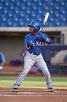 AZL Rangers Derwin Barreto (8) at bat during an Arizona League game against the AZL Brewers Blue on July 11, 2019 at American Family Fields of Phoenix in Phoenix, Arizona. The AZL Rangers defeated the AZL Brewers Blue 5-2. (Zachary Lucy/Four Seam Images)