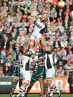 Leicester, England. Graham Kitchener of Leicester Tigers  and in the line out George Robson of Harlequins during the Aviva Premiership match between Leicester Tigers and Harlequins at Welford Road on September 22, 2012 in Leicester, England.