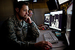 Imagery mission supervisor Staff Sergeant Justin Randall works on the operations floor at Beale Air Force Base in Linda, Calif., April 30, 2010.