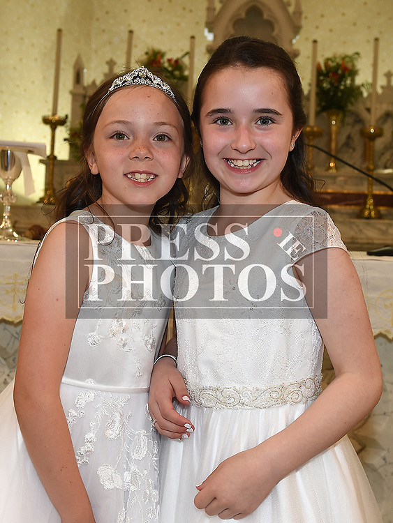 Kayla Scully and Megan Hoey who received first holy communion in St. Cianan's church Duleek.  Photo:Colin Bell/pressphotos.ie