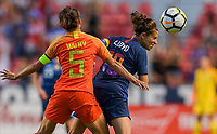 Sandy, Utah - Thursday June 07, 2018: Wu Haiyan, Carli Lloyd during an international friendly match between the women's national teams of the United States (USA) and China PR (CHN) at Rio Tinto Stadium.