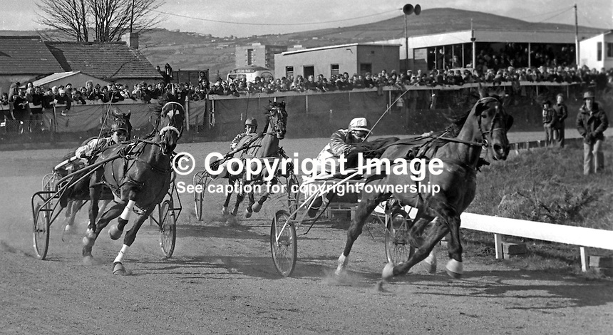 Harness racing at Lambeg Stadium, Lisburn, N Ireland, UK, 197504010790c..Copyright Image from Victor Patterson, 54 Dorchester Park, Belfast, United Kingdom, UK...For my Terms and Conditions of Use go to http://www.victorpatterson.com/Victor_Patterson/Terms_%26_Conditions.html