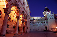 The Rectors Palace and Cathedral of the Assumption of the Virgin Mary, illuminated at night.Dubrovnik Old Town. Croatia