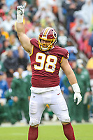 Landover, MD - September 23, 2018: Washington Redskins defensive tackle Matthew Ioannidis (98) celebrates after a sack during the  game between Green Bay Packers and Washington Redskins at FedEx Field in Landover, MD.   (Photo by Elliott Brown/Media Images International)