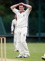 Martin Tucker of Hornsey shows his frustration during the Middlesex County League Division two game between Shepherds Bush and Hornsey at Bromyard Avenue, East Acton on Sat July 23, 2011