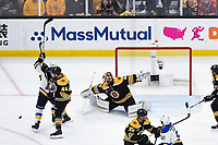 June 6, 2019: Boston Bruins goaltender Tuukka Rask (40) stretches to make a save behind St. Louis Blues left wing Jaden Schwartz (17) and defenseman Steven Kampfer (44) during game 5 of the NHL Stanley Cup Finals between the St Louis Blues and the Boston Bruins held at TD Garden, in Boston, Mass. The Blues defeat the Bruins 2-1 in regulation time. Eric Canha/CSM