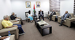 Palestinian Prime Minister Rami Hamdallah meets with the Minister of Minister of Economy Abir Oudeh, in the West Bank city of Ramallah on August 10, 2015. Photo by Prime Minister Office