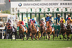 Jockey Joao Moreira riding Rapper Dragon (4th from left) competes during the 2017 BMW Hong Kong Derby Race at the Sha Tin Racecourse on 19 March 2017 in Hong Kong, China. Photo by Marcio Rodrigo Machado / Power Sport Images