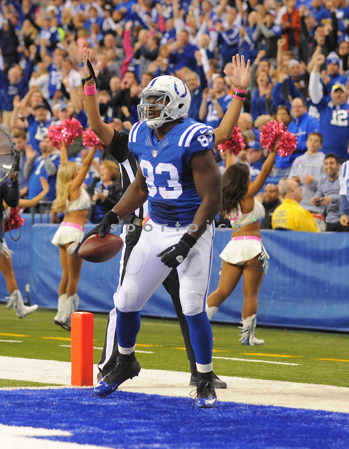 Indianapolis Colts Dwayne Allen (83) during a game against the Baltimore Ravens on October 5, 2014 at Lucas Oil Stadium in Indianapolis, IN. The Colts beat the Ravens 20-13.