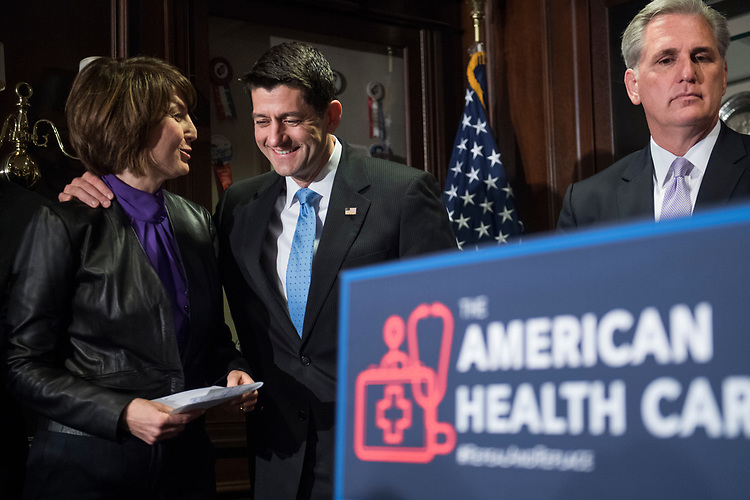UNITED STATES - MARCH 8: From left, Republican Conference Chair Cathy McMorris Rodgers, R-Wash., Speaker Paul Ryan, R-Wis., and House Majority Leader Kevin McCarthy, R-Calif., conduct a news conference at the RNC where they discussed the House Republican's new healthcare plan to repeal and replace the Affordable Care Act, March 8, 2017. (Photo By Tom Williams/CQ Roll Call)