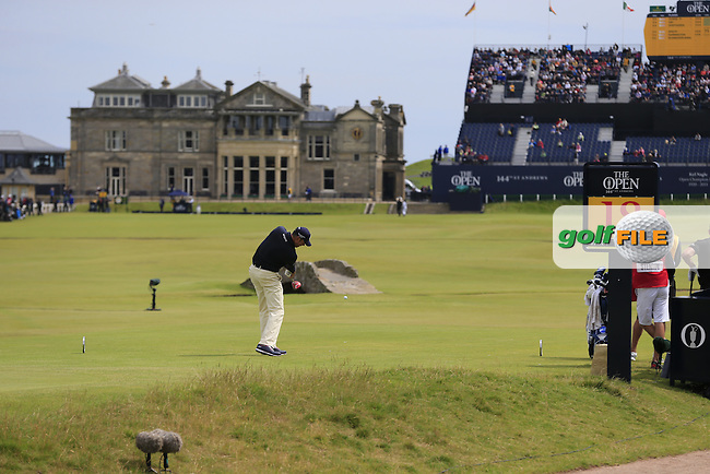 Matt Kuchar (USA) tees off the 18th tee during Monday's Final Round of the 144th Open Championship, St Andrews Old Course, St Andrews, Fife, Scotland. 20/07/2015.<br /> Picture Eoin Clarke, www.golffile.ie