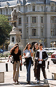 Bucharest, Romania. Young people walking on the street