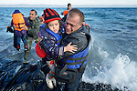 When he landed on the Greek island of Lesbos on October 30, 2015, Nabil Minas, a refugee from Syria, carried his children through the water--including this daughter--and left them on the shore, then fell on his face and kissed the ground. A Christian, he crossed himself and covered his face with his hands, weeping with joy. Minas and his family came in the boat from Turkey, paying an exorbitant amount to traffickers who provided the transport.