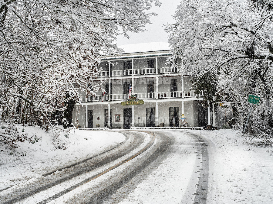 Historic village of Volcano, during a rare winter snow, Amador County, Calif.<br /> .<br /> .<br /> .<br /> .<br /> #VolcanoCalifornia, #Snow, #Winter2019, #VisitAmador