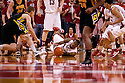 29 February 2012: Caleb Walker #25 of the Nebraska Cornhuskers dives after a loose ball during the second half against the Iowa Hawkeyes at the Devaney Sports Center in Lincoln, Nebraska. Iowa defeated Nebraska 62 to 53.